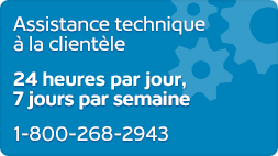 Assistance technique á la clientéle 24x7 1-800-268-2943